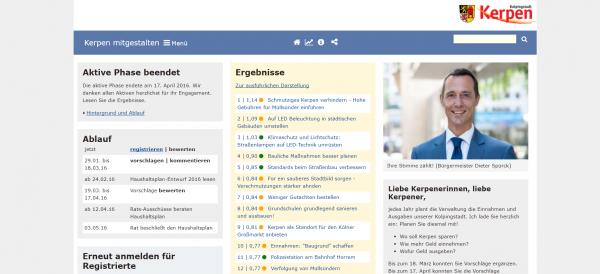Screenshot der Online-Plattform https://www.kerpen-mitgestalten.de